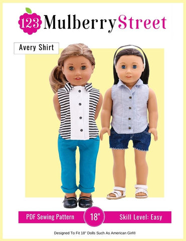 "Avery Shirt 18"" Doll Clothes Pattern"