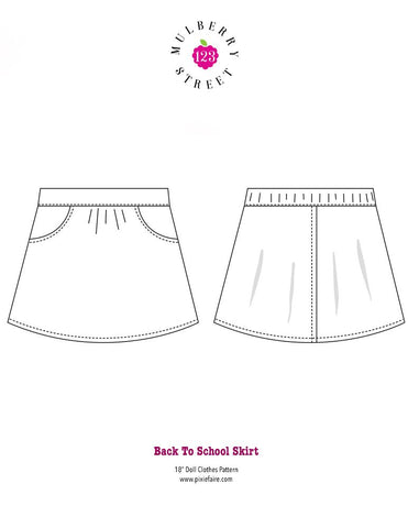 "Back to School Skirt 18"" Doll Clothes Pattern"