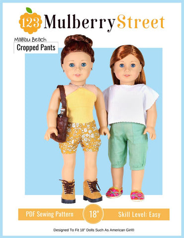 "Malibu Beach Cropped Pants 18"" Doll Clothes Pattern"