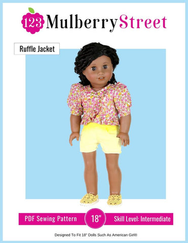 "123 Mulberry Street 18 Inch Modern Ruffle Jacket 18"" Doll Clothes Pattern Pixie Faire"