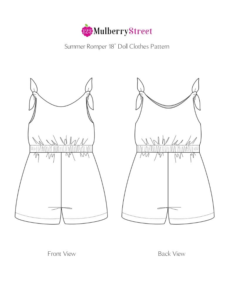 Summer Romper 18 inch Doll Clothes Pattern PDF Download