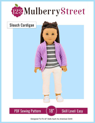 "123 Mulberry Street 18 Inch Modern Trendy Slouch Cardigan 18"" Doll Clothes Pattern Pixie Faire"