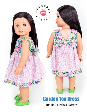 "Garden Tea Dress 18"" Doll Clothes Pattern"