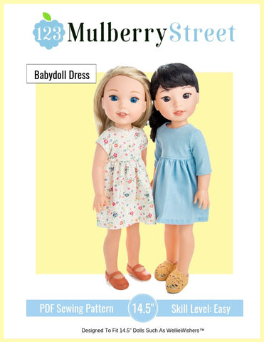 "Babydoll Dress 14.5"" Doll Clothes Pattern"