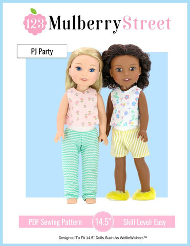 "PJ Party Pajamas and Slippers 14.5"" Doll Clothes Pattern"