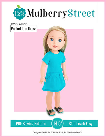 "Drop Waist Pocket Tee Dress 14.5"" Doll Clothes Pattern"