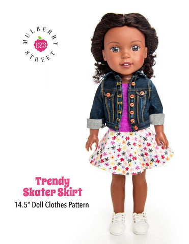 "Trendy Skater Skirt 14.5"" Doll Clothes Pattern"