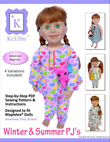 Winter & Summer PJ's for Maplelea Dolls