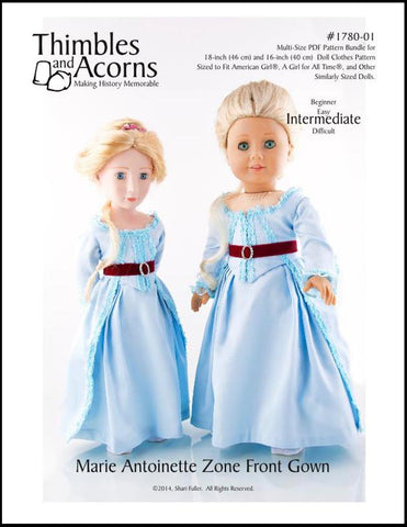 "Marie Antoinette Zone Front Gown Bundle 16"" and 18"" Doll Clothes"