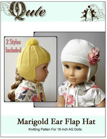 Qute Knitting Marigold Ear Flap Hat Knitting Pattern Pixie Faire