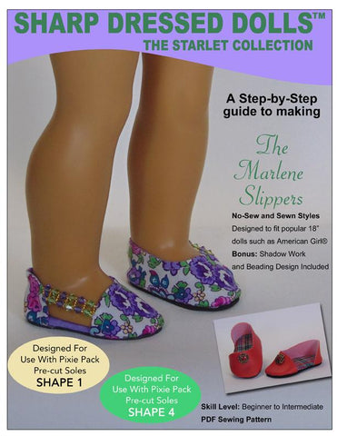 "The Marlene Slippers 18"" Doll Clothes Pattern"