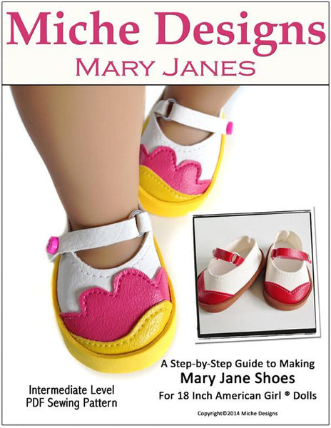 Mary Janes 18 Inch Doll Shoes Pdf Pattern Download Pixie