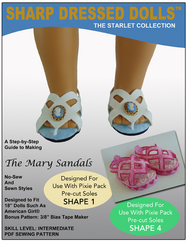 "The Mary Sandals 18"" Doll Shoe Pattern"