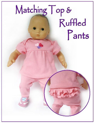 "Sofie's Baby  Ruffled Pants & Top Set 15"" Doll Clothes Pattern"