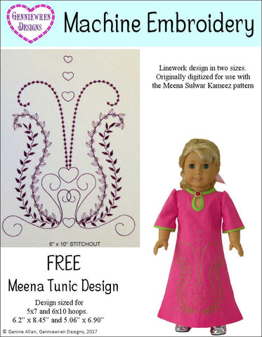 Genniewren Machine Embroidery Design FREE  Meena Tunic Machine Embroidery Design Pixie Faire