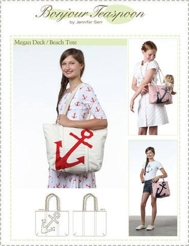 Bonjour Teaspoon Girls Megan Deck Beach Tote Pattern For Girls Pixie Faire