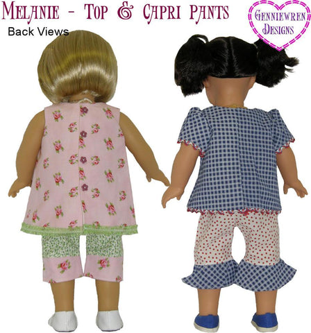 "Melanie Top and Capri Pants 18"" Doll Clothes Pattern"