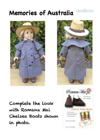 pdf doll clothes sewing pattern Rondeletia Memories of Australia coat designed to fit 18 inch American Girl dolls
