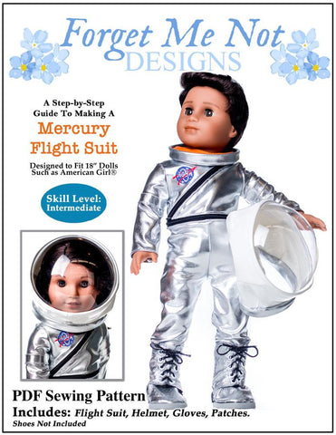 "Forget Me Not Designs 18 Inch Modern Mercury Flightsuit 18"" Doll Clothes Pattern Pixie Faire"