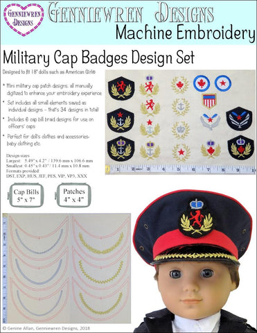 Military Cap Badges Machine Embroidery Design Set