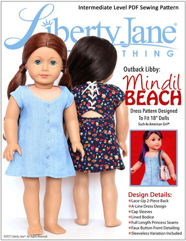"Liberty Jane 18 Inch Modern Mindil Beach Dress 18"" Doll Clothes Pattern Pixie Faire"