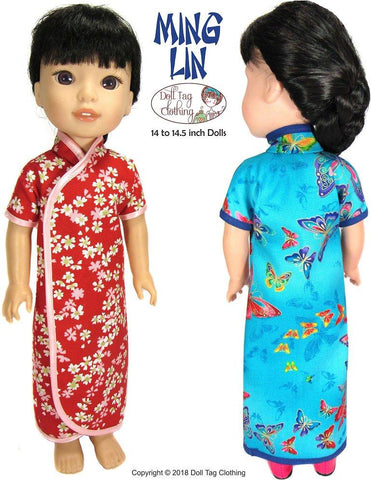 PDF doll clothes sewing pattern Doll Tag Clothing Ming Lin Chinese dress designed to fit 14 to 14.5 inch WellieWishers and Hearts For Hearts Girls dolls