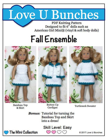 Fall Ensemble Knitting Pattern for Mini Dolls
