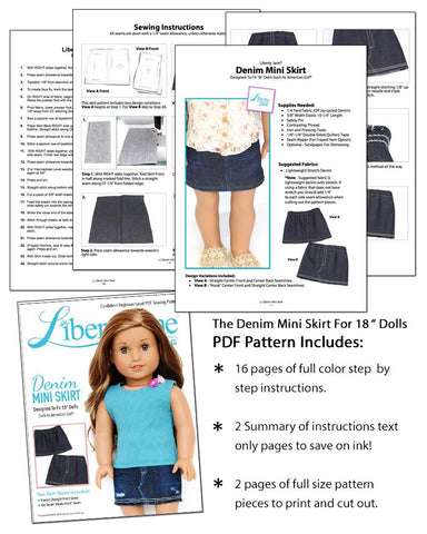 "Denim Mini Skirt 18"" Doll Clothes Pattern"