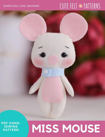 "Miss Mouse 6.5"" Felt Plush Hand Sewing Pattern"