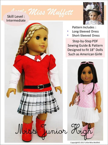 "Miss Junior High 18"" Doll Clothes Pattern"