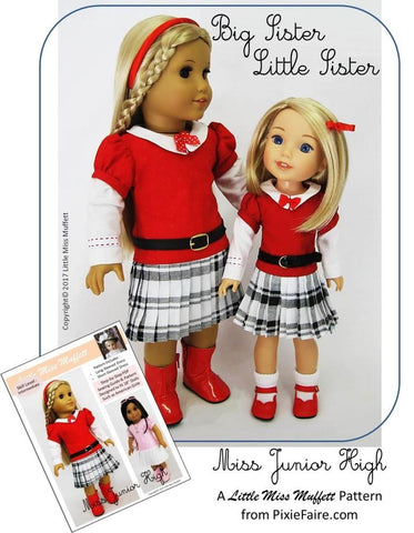 "Miss Junior High 14.5"" Doll Clothes Pattern"