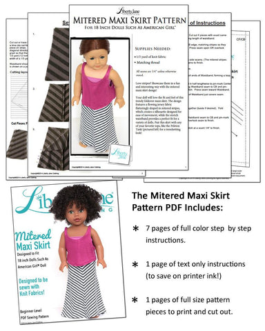 "Mitered Maxi Skirt 18"" Doll Clothes Pattern"