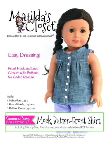 "Matilda's Closet 18 Inch Modern Summer Camp Collection: Mock Button-Front Shirt 18"" Doll Clothes Pixie Faire"