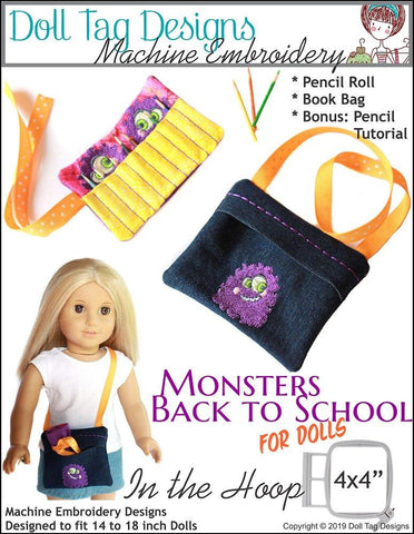 "Monsters Back To School 14""-18"" Doll Machine Embroidery Designs"