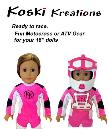 "Motocross / ATV Gear 18"" Doll Clothes Pattern"