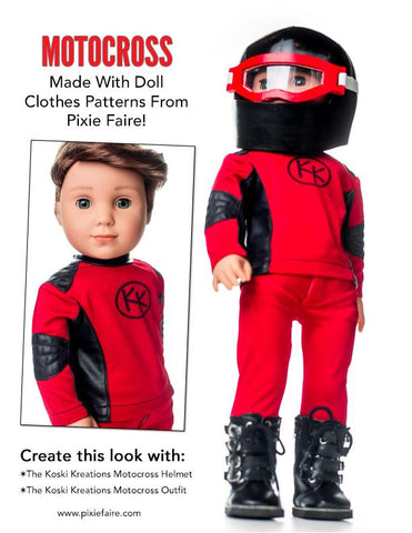 "Motocross / ATV Gear Bundle 18"" Doll Clothes Pattern"