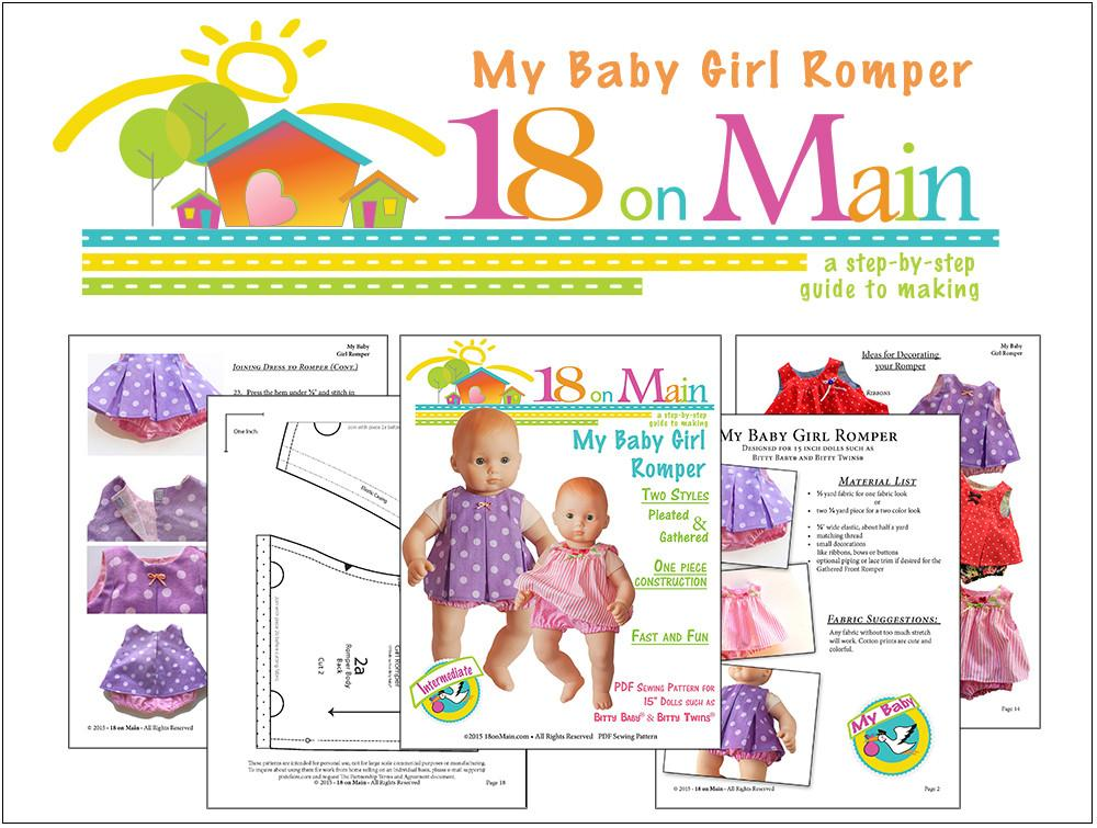 9f74f0210de 18 On Main My Baby Girl Romper Doll Clothes Pattern 15 inch doll ...