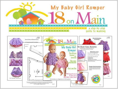 "My Baby Girl Romper 15"" Baby Doll Clothes Pattern"