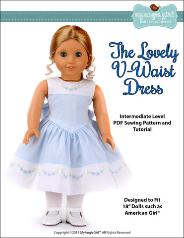 "My Angie Girl 18 Inch Modern The Lovely V-Waist Dress 18"" Doll Clothes Pattern Pixie Faire"