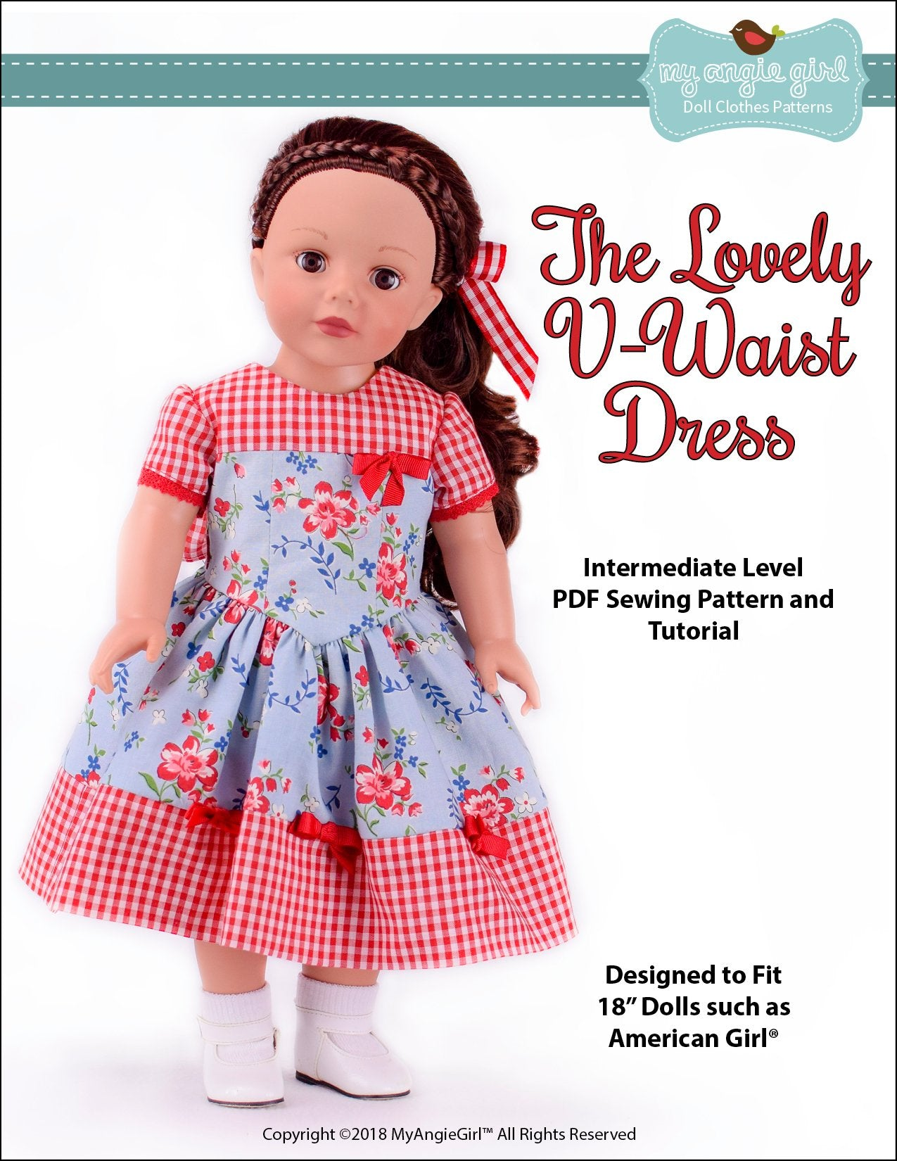 8046905eaa857e My Angie Girl The Lovely V-Waist Dress Doll Clothes Pattern 18 inch ...
