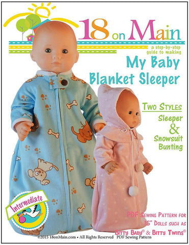 "18 On Main Bitty Baby/Twin My Baby Blanket Sleeper 15"" Baby Doll Clothes Pattern Pixie Faire"
