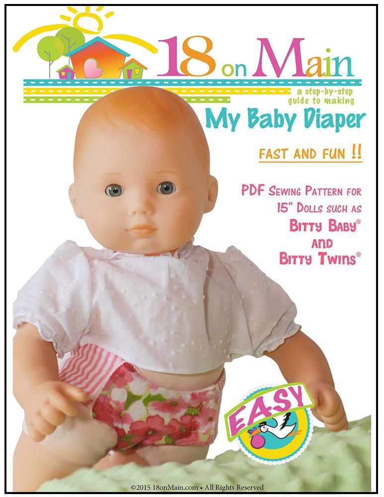 7d00bebeb6b 18 On Main My Baby Diaper Doll Clothes Pattern 15 inch dolls such as ...