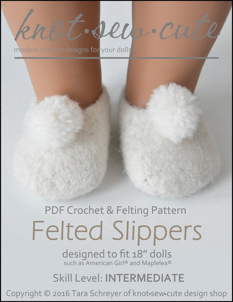 Knot Sew Cute Felted Slippers Doll Clothes Crochet And