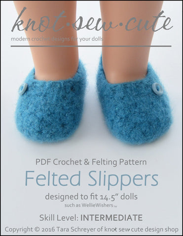 "Knot-Sew-Cute WellieWishers Felted Slippers 14.5"" Doll Clothes Crochet Pattern Pixie Faire"