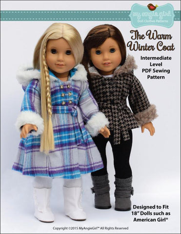 "My Angie Girl 18 Inch Modern The Warm Winter Coat  18"" Doll Clothes Pixie Faire"