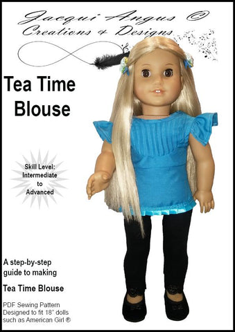 "Jacqui Angus Creations & Designs 18 Inch Modern Tea Time Blouse 18"" Doll Clothes Pattern Pixie Faire"