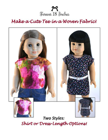 "Forever 18 Inches 18 Inch Modern NOT!  For Knits Tee-Shirt 18"" Doll Clothes Pattern Pixie Faire"