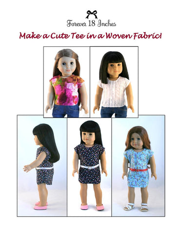 "NOT!  For Knits Tee-Shirt 18"" Doll Clothes Pattern"