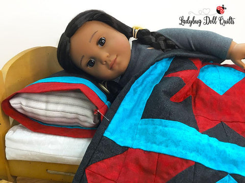 pdf doll quilt pattern Ladybug Doll Quilts navajo Nights designed to fit 18 inch American Girl doll beds