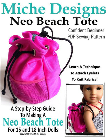 "Miche Designs 18 Inch Modern Neo Beach Tote 15"" Baby Dolls and 18"" Doll Accessories Pixie Faire"